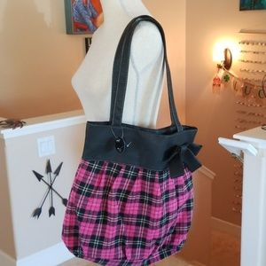 LuLu Pink Plaid Flannel Tote Shoulder Purse Bag L